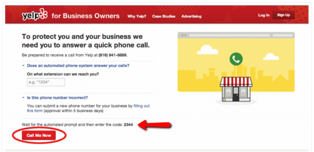 Yelp! Listing phone number claim
